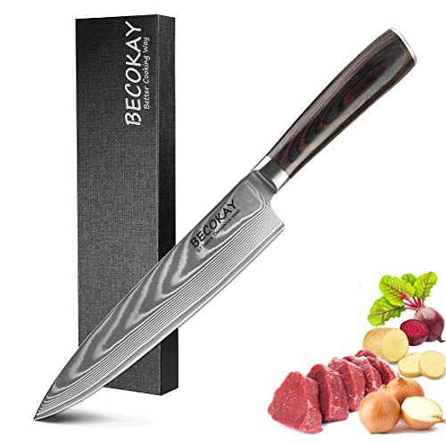 Cuchillo chef de Damasco, 8 pulgadas VG-10 cuchillo japonés 67 capas cuchillo...