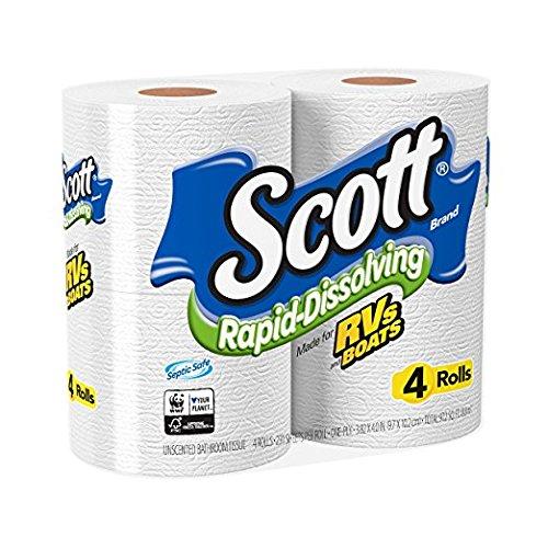 Scott Rapid-Dissolving Toilet Paper, 4 Rolls, Bath Tissue(pack of 12)