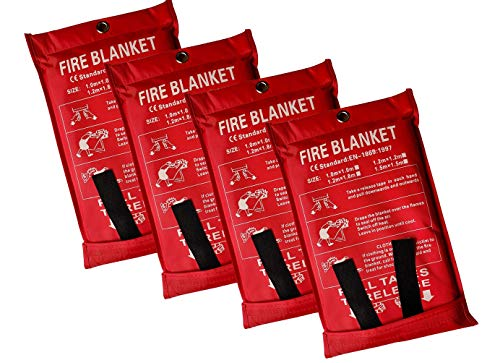 Lonnsaffe Manta de emergencia de fibra de vidrio para supervivencia, ideal para cocina, chimenea, parrilla, coche, camping (4 unidades (1 x 1 m)