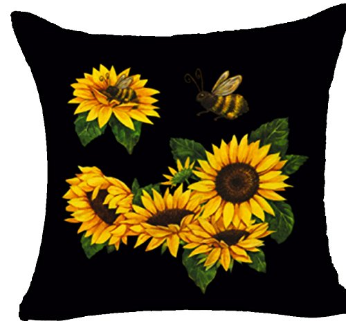 Queen's designer Natural Yellow Sunflower and A Bee Cotton Linen Square Decorative Throw Pillow Case Cushion Cover 18'X18 (17)