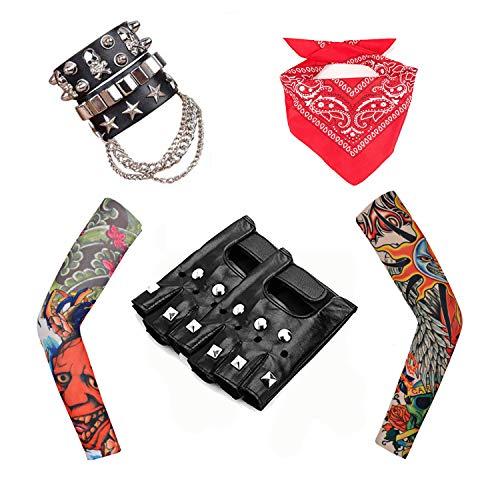 Rpanda 80s Punk Gothic Rocker Kit, Men's Heavy Metal Rock Punk Disco Halloween Kostüme Accessoires mit Punk Gloves Arm Fake Tattoo Sleeves Cover Leder Armband