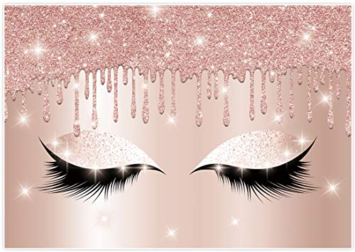 Allenjoy Eyelashes Rose Drips Pink Glitter Backdrop 7×5ft Makeup Artist Background Sweet Girls Spa Fashion Party Banner Decor Photography Photo Studio Props