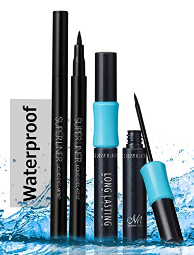 Waterproof Eyeliner- Set of Two Styles of Black Liquid Eye liners, Draw Soft or Sharp Lines of Eyelines with Menow Superline Pen and Menow Long lasting Fluid liner, Lasts Upto 12 Hours.