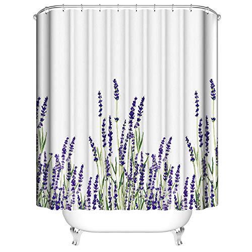 YISUN Nassraum-Duschvorhang aus Polyester, 1,8 m, Wasserfarben-Stoff, wasserdicht, waschbar, Bad-Duschvorhang mit 12 Haken (violett, Polyester)