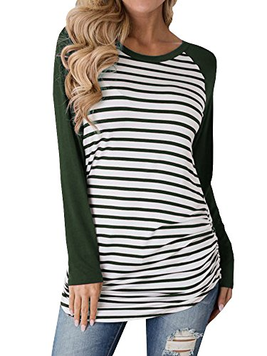 Kathemoi Womens Tunic Tops Striped Blouse Long Sleeve Basic Raglan T-Shirts