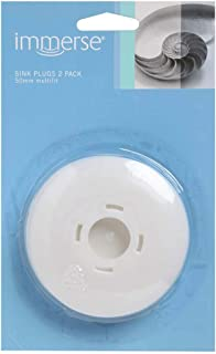 Immerse 52543 Sink Plug, White, Pack of 2