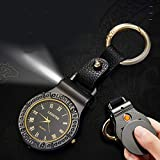 Mens Novelty Cigarette Lighter Quartz Watch, Rechargeable Lighters Multifunctional Keychain Watch with Light, USB Charging Windproof Flameless for Mens Valentine's Day Birthday Gift Black Black