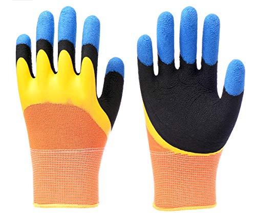 5 Paar Garten Schutzhandschuh Dreischichtige Verdickung der Fingerspitzen Arbeitshandschuhe Dornensichere Gartenhandschuhe Latexhandschuhe Emulsion,wasserdicht, rutschfest