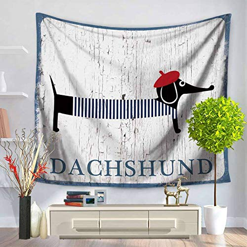 m u Wall Tapestry Animal Dachshund Bulldog Hippie Tapestry Wall Fabric Wood Crack Farmhouse Decoration Home Dormitory Wall Carpet Yoga TapestryNon-Woven Fabric 200 * 150Cm Tapestry MU