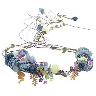 Flower Crown Headband Floral Headpiece - AWAYTR Women Girl Bohemia Adjustable Tree Rattan Leaf Flower Garland Hair Wreath Wedding photography Decoration