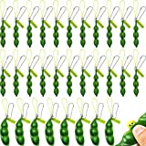 Gejoy 30 Pieces Fidget Bean Toy Pea Pod Fidget Bean Edamame Keychain Key Ring with Funny Facial Expression Stress Relieving Chain Toys Soybean Keyring