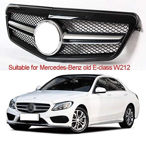 Compatibel met/vervanging voor voorgrille voor Mercedes-Benz Oude e-Klasse w212 Voorgemodificeerde Amg Kleine Twee Horizontale Grille, Auto Wijzigingsnetwerk, Abs Materiaal Lichtgewicht, Hoge Sterkte Zwart