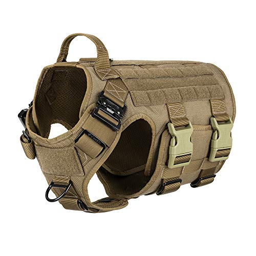 """ICEFANG Tactical Dog Harness ,Hook and Loop Panels for Patch,Working Dog MOLLE Vest with Handle,No Pulling Front Leash Clip,6 x Buckle (XL (Neck:20""""-28"""" ; Chest:32""""-39"""" ), Coyote Brown)"""