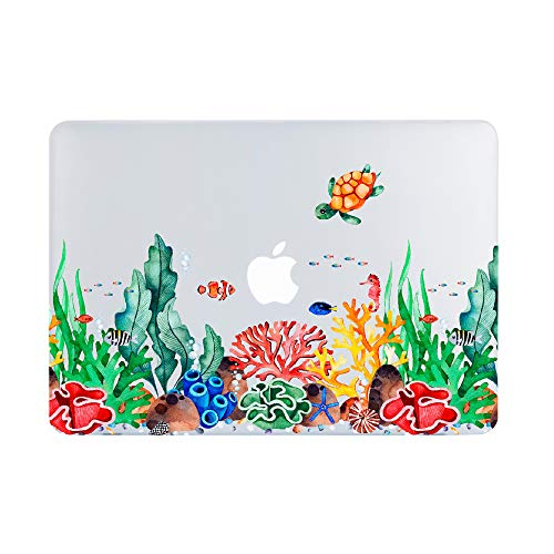 Lapac MacBook Air 13 Inch Clear Case 2020 2019 2018 Release A2179 A1932, Undersea MacBook Air 13 in Case Hard Shell Case & Retina Display Fits Touch ID with Keyboard Cover (Undersea(A2179/A1932))