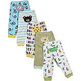 BOZEVON Baby Hose mit Fuß Strampelhose Jungen 100% Baumwolle Lange/kurze Strampelhose Mädchen Schlupfhose im 5er Pack