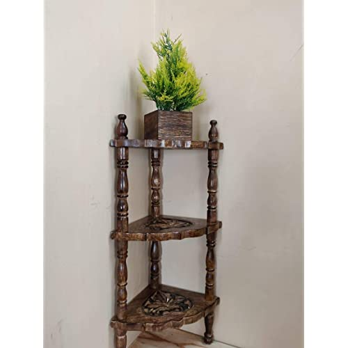 Amaze Shoppee Wooden Mini Corner Rack Side Table Home Decor Carved End Table Furniture Shelves