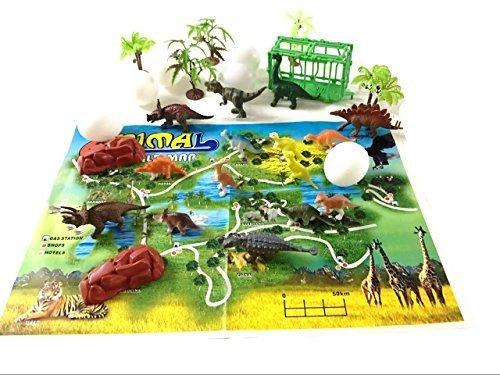 gadgetzone 31 Stück Kunststoff Modell Jurassic World Dinosaurier T-Rex Raptor Aktion Figuren Kinder Spielzeug Spielset mit Spiel Landkarte Weihnachten Strumpf Füllung