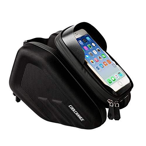YHDQ Fahrradschlauch Tasche-Fingerabdruck Entriegeln Sie wasserdichte Sattel Front Beam Bag Fahrrad Hard Shell Handytasche-Komfortable Feel-Professional Riding Equipment