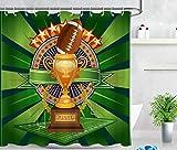 YEDL Super Bowl Football Trophy Ducha Cortina Accesorio de baño 180 × 180Cm
