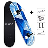 ScientoySkateboard, Beginner Skateboards, 31'x 8' Complete Pro Skateboard with A Repair Kit for Kids/Boys/Girls/Youth/Adults, 9 Layer Canadian Maple Double Kick Skateboard for Outdoor Sports