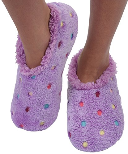 Snoozies Slippers for Women   Lotsa Dots Colorful Cozy Sherpa Slipper Socks   Womens House Slippers   Cozy Slippers for Women   Fuzzy Slippers   Lavender   Large