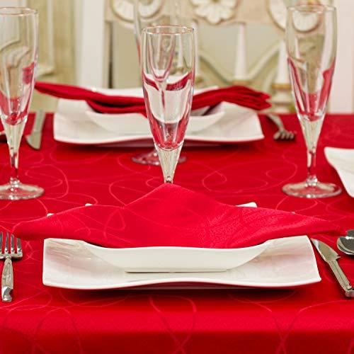 """Lineas - Mantel de mesa, tratamiento antimanchas, tallas grandes, color rojo -, Rojo, 6 NAPKINS 18 x 18"""" (45 x 45cm)"""