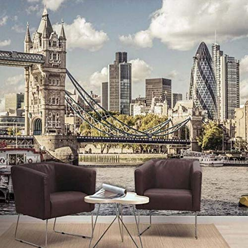 Benutzerdefinierte 3D Fototapete Europäischen Stil London Bridge City Landschaft Wohnzimmer Schlafzimmer Tv Hintergrund Wandbilder Tapete(W)300X(H)210Cm