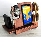 Christmas Gift for Men, Wooden Docking Station - Smartphone Stand, Desk Organizer for Devices
