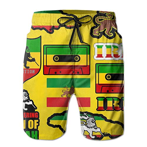 YongColer Men's Rasta Lion Jamaican Reggae Flag Map Magnetic Tape Short Swim Trunks Best Board Shorts for Sports Running Surfing Quick Dry Breathable Bathing Suits Beach Holiday Party Swim Shorts(M)