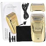 Maquinilla de afeitar eléctrica recargable, maquinilla de afeitar recíproca, máquina de afeitar recortadora de barba portátil para hombres (oro)