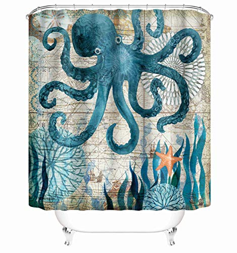 "Taysta Fabric Shower Curtain Curtains with Hooks Octopus Fashion Sea Vintage Old School Style Cool Deep Ocean Animal Decor Creative Home Ideas 72""X72"" Waterproof Decorative Bathroom"