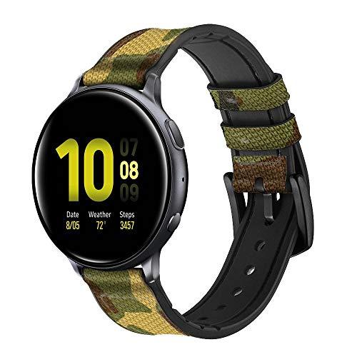 Innovedesire Camo Camouflage Graphic Printed Correa de Reloj Inteligente de Cuero y Silicona para Samsung Galaxy Watch, Watch3 Active, Active2, Gear Sport, Gear S2 Classic Tamaño (20mm)