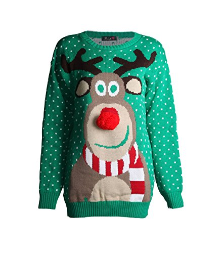 Forever Kids Beautiful Rudolph 3D Nose Pom Pom Christmas Jumper