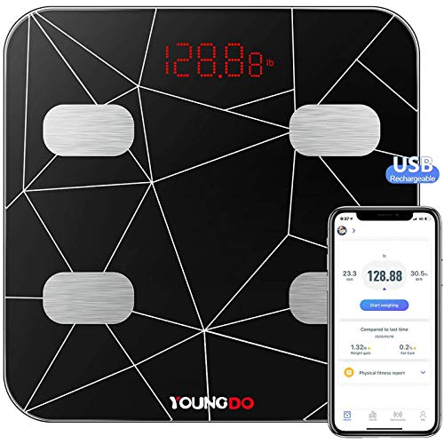 Digital Weight Scale, YOUNGDO Smart USB Rechargeable Bathroom Scale with Weight/Body Fat/BMI, Fitness Composition Analysis, 19 Measurements, Bluetooth, Smartphone App, Max 396lbs