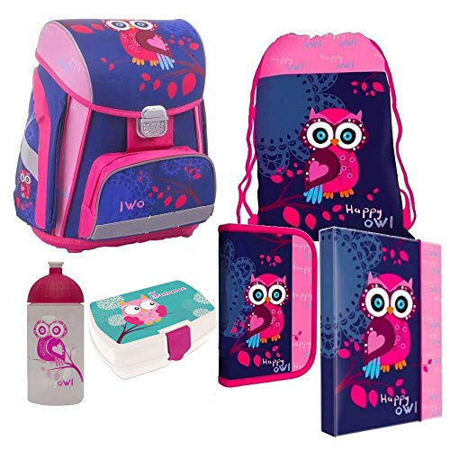 Eule Owl 6 Teile Set Schulranzen RANZEN TORNISTER FEDERMAPPE Tasche Brotdose mit Sticker von kids4shop