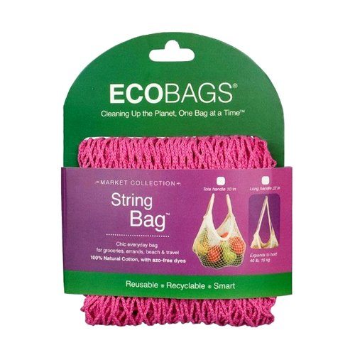 Ecobags Market Collection String Bags Long Handle Fuchsia