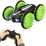 Baztoy Coche teledirigido juguetes para niños Anfibio coche teledirigido 4WD RC Car recargable con rotación de 360° Flip Regalos para niños niños Juegos Jardín Interior Exterior