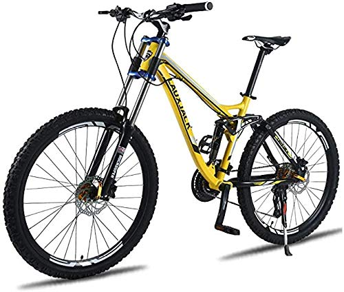 27-Speed Mountain Bike Lightweight Aluminum Alloy Frame Double Suspension All-Terrain City Bicycle 26 Inches Downhill Climbing Double Oil Disc Brake-B