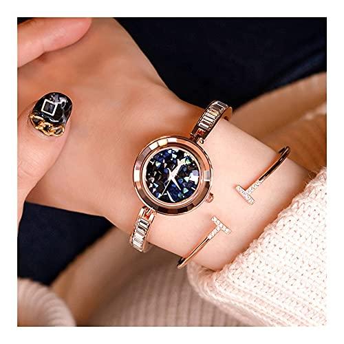 Relojes De Pulsera para Mujeres Ligero Nicho De Lujo Esfera Pequeña Cielo Estrellado Pulsera De Diamantes De Imitación Reloj Movimiento De Cuarzo Joyería Hebilla Reloj De Mujer (Color : Blue)