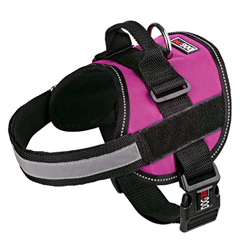 Dog Harness, Reflective No-Pull Adjustable Vest with Handle for Walking, Training, Service Breathable No - Choke Harness for Small, Medium or Large Dogs Room for Patches Girth 22 to 30 in Pink
