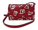 Kate Spade New York Laurel Way Addison Printed Leather Lipstick Hearts Crossbody Shoulder Bag Clutch, Red/Multi