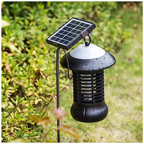 Naiflowers Solar Mosquito Insect Zapper Solar Powered LED Light Bug Killer Insect Killing Lamp Outdoor Ground Backyard Garden Lawn Cordless Solar Powered Pest Light Best Stinger Mosquitoes Moth Fly