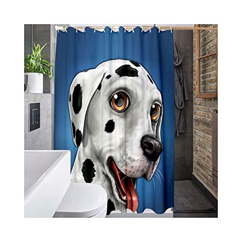 Daesar Anti-Schimmel Duschvorhang 180x200 Hund 3D Vintage Duschvorhang aus Polyester-Stoff