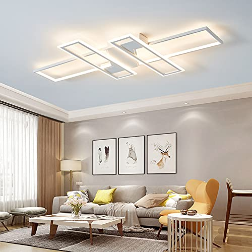 Modern Deckenleuchte Weiß LED Wohnzimmer Design Lampen Decke Dimmbar Hängeleuchten Kreativität Deckenlampe Büro Studie Wohnzimmer Schlafzimmer Deckenleuchte mit Fernbedienung