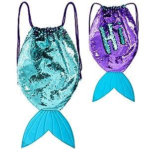 GirlZone Regalos para Niñas -Mochila Infantil para Niñas Cola de Sirena de GirlZone, Bolsa con Lentejuelas Reversibles, Cierre de Cordones 3 a 12 años