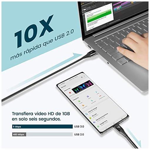 RAMPOW Cable USB Tipo C a USB A 3.0 Cable USB C Carga Rápida Aleación de Zinc de por Vida [USB C 3.0 5Gbps] para Samsung… 3
