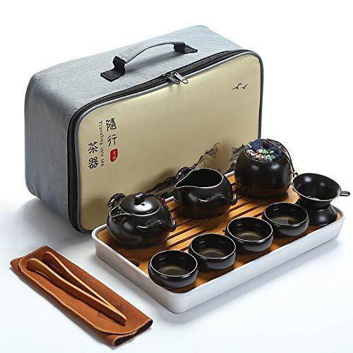 fanquare Portable Travel Tea Set,Handmade Kungfu Tea Set,Porcelain Teapot,Teacups,Bamboo Tea Tray with a Portable Travel Bag,Black