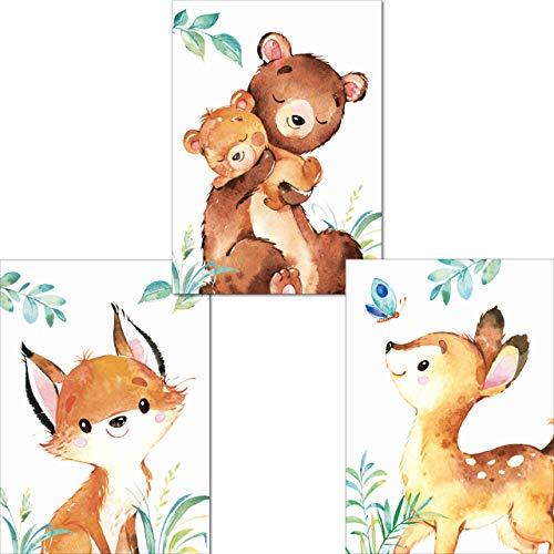 LALELU-Prints | A4 Bilder Kinderzimmer Poster | Zauberhafte Wald-Tiere | Babyzimmer Deko Junge Mädchen | 3er Set Kinderbilder (DIN A4 ohne Rahmen)