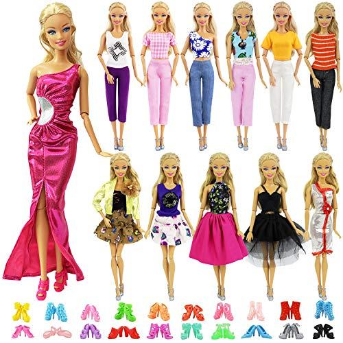 ZITA ELEMENT 20 Piezas Ropa y Zapatos Ropa para 11,5 Pulgadas - 10 Conjuntos Ropa / Vestido Estilo de Mezcla Fashionista Hecha a Mano + 10 Zapatos -para 11.5 Pulgadas / 28 - 30cm