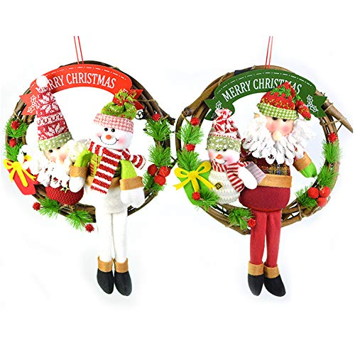 HOMEDAI 2-Piece Christmas Wreath Front Door Wreath Outdoor Wall Hanging Ornaments Garland Christmas Decoration Gifts for Party Easter Thanksgiving Day Decor